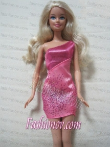 Fashion One Shoulder Mini-length Dress With Sequin and Beading Made To Fit the Barbie Doll