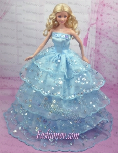 Gorgeous Blue Gown With Sequins and Embroidery Made to Fit the Barbie Doll