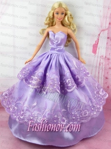 Gorgeous Lilac Dress With Embroidery Made To Fit Barbie Doll