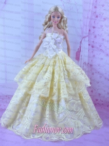 Gorgeous Yellow Princess Dress For Barbie Doll