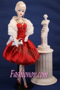 Lovely Red Party Dress With Knee-length For Barbie Doll