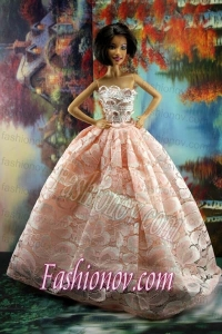 Perfect Pink Princess Dress With Lace For Barbie Doll