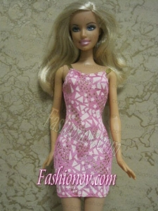 Perfect Printing Short Colorful Barbie Doll Dress