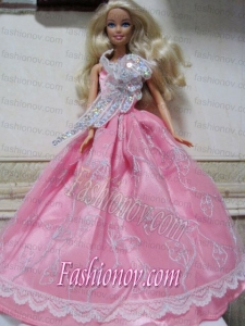 Pretty Rose Pink Princess Dress With Embroidery Made to Fit the Barbie Doll