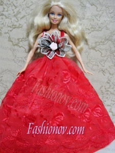 Red Embroidery Dress Handmade Gown for Barbie Doll