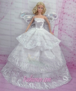 Romantic Wedding Dress With Embroidery Made to Fit the Barbie Doll