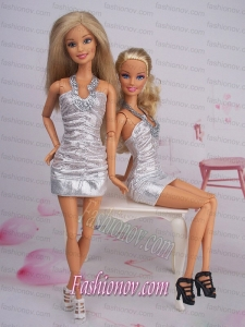 Sexy Fashion Halter Party Dress With Sequin Dress For Barbie Doll