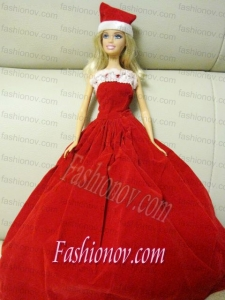 Simple Red Handmade Dress Party Clothes For Barbie
