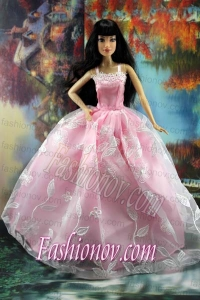 Beautiful Pink and Embroidery For Barbie Doll Dress