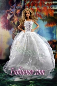 Beauty Ball Gown and Embroidery For Barbie Doll Wedding Dress