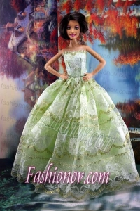 Lace Over Skirt Green For Sweet Barbie Doll Dress