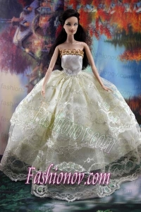 Lace Over Skirt and Ball Gown Made To Fit the Barbie Doll