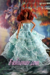 Lace Over Skirt and Light Blue Gown For Barbie Doll