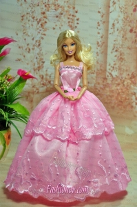 Lovely Baby Pink Straps Applqiues Party Clothes Fashion Dress for Noble Barbie