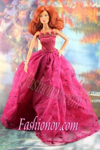 Lovely Embroidery For Hot Pink Barbie Doll Dress