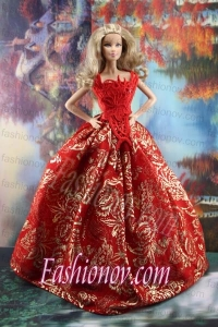 Luxurious Red Gown With Embroidery Made to Fit the Barbie Dress