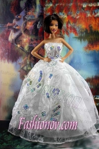 Perfect Embroidery and Sequin For White Holiday Dress To Barbie Doll