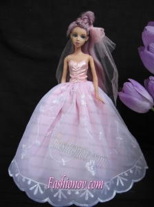 Baby Pink Sweetheart Ball Gown Lace and Ruch Wedding Dress For Barbie Doll