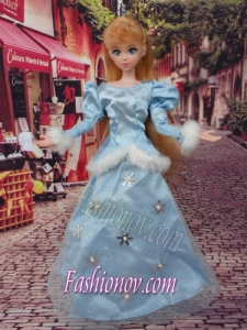 Cute Baby Blue Scoop Long Sleeves Appliques Made to Fit the Barbie Doll