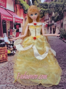Cute Yellow Scoop Hand Made Flowers Barbie Doll Dress