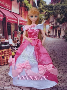 Lovely Bowknot Red and White Off The Shoulder Dress Gown For Barbie Doll