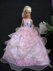 Luxurious Ruffled Layeres Baby Pink Handmade Summer Wear Dress Clothes Gown For Barbie Doll