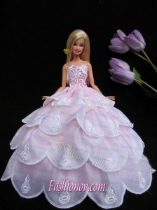 New Ruffled Layeres Baby Pink Handmade Summer Wear Dress Clothes Gown For Barbie Doll