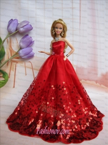 Popular Strapless Red Accents and Sequins Made To Fit The Barbie Doll