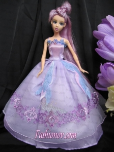 Pretty Straps Lilac Dress With Sequins Made To Fit The Barbie Doll