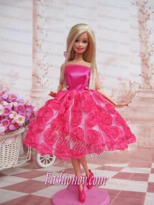 Sweet Ball Gown Hot Pink Hand Made Flowers With Tea-length Made to Fit the Barbie Doll