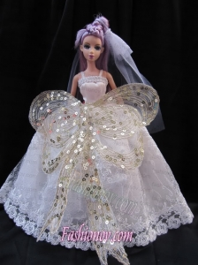 The Most Amazing Straps White Dress with Sequins Made To Fit The Barbie Doll