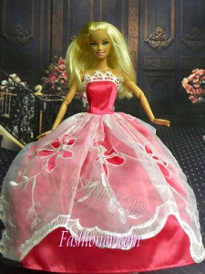 White and Red Handmade Dresses Fashion Party Clothes Gown Skirt For Barbie Doll