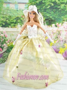 Beautiful Champagne Gown With Embroidery Dress For Noble Barbie