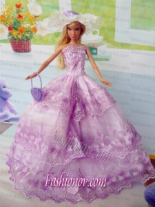 Beautiful Fuchsia Party Clothes Fashion Dress for Noble Barbie Doll Organza