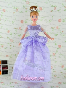 Beautiful Lilac Tulle Party Dress for Noble Barbie Doll