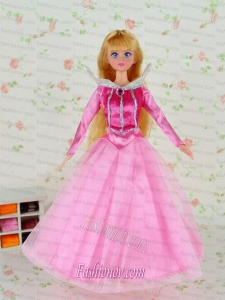 Beautiful Pink Tulle Party Clothes Fashion Dress for Noble Barbie Doll