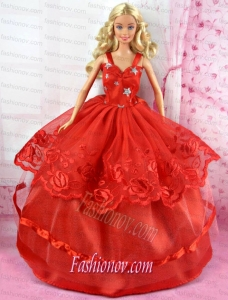 Beautiful Red Party Dress Tulle for Noble Barbie Doll