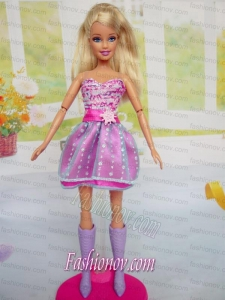 Cute Red Holiday Dress Mini-length Tulle for Noble Barbie Doll