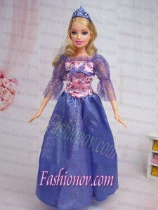 Elegant Blue Gown Sequin Made to Fit the Barbie Doll