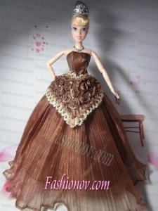 Elegant Hand Made Flowers Brown Made to Fit the Barbie Doll