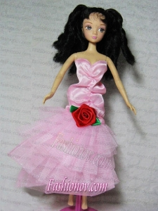 Elegant Pink Dress With Flower Tea-length For Barbie Doll