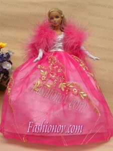 Elegant Rose Pink Gown with Lace Made to Fit the Barbie Doll