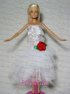 Elegant Wedding Dress With Flower Tea-length For Barbie Doll