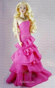 Fashion Fuchsia Party Dress With Ruffled Layers Gown For Barbie Doll