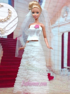 Fashion Handmade Organza Barbie White Wedding Dress For Barbie Doll