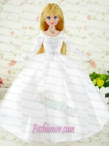 Fashion Handmade White Tulle Barbie Wedding Dress For Barbie Doll