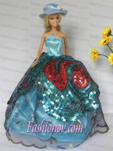 Free Shippment Barbie Doll Lace and Sequins Clothes Party Dresses Gown