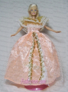 Gorgeous Light Orange Gown Handmade Dress For Barbie Doll