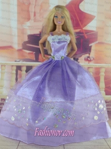 Gorgeous Lilac Gown With Sequins Made to Fit the Barbie Doll