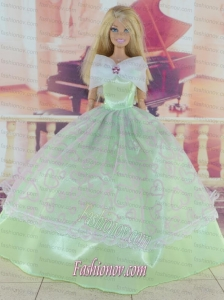Green Pretty Gown With Embroidery Dress For Barbie Doll
